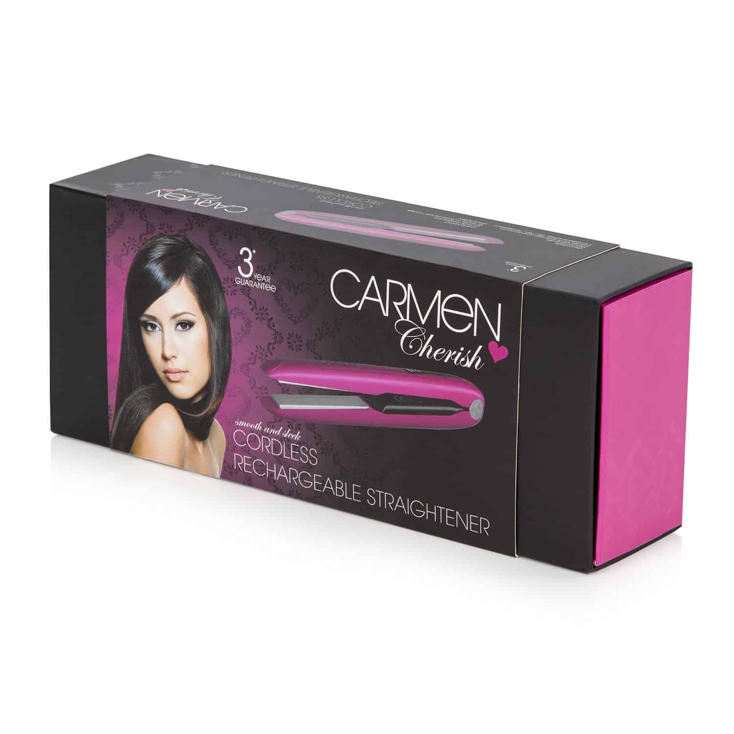 Carmen C81015 Cordless Rechargeable Mini Hair Straightener package