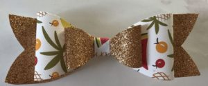 Gold fine glitter double bow with fruit